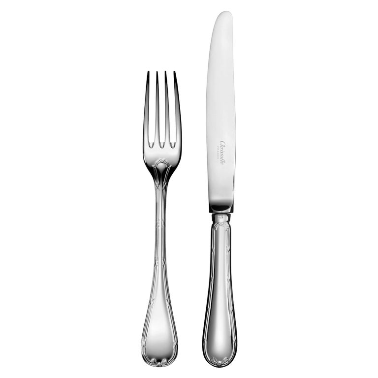 """Christofle  24 Silver Plated Set Flatware """"Rubans"""" for 6 For Sale"""