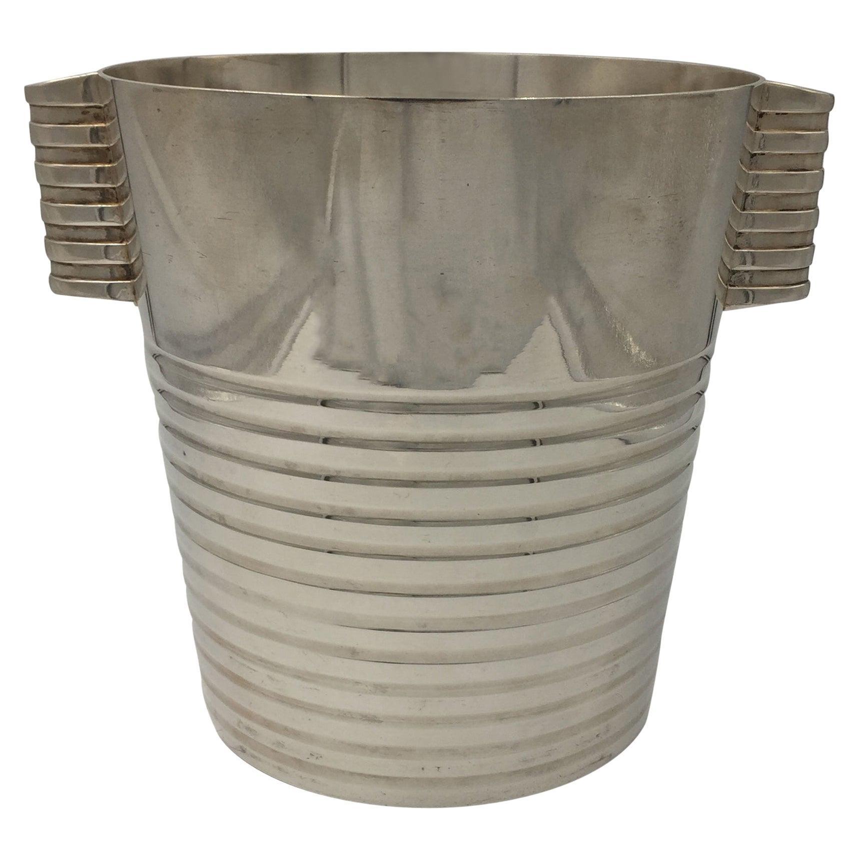Christofle Art Deco Champagne Bucket 'Ondulations' Luc Lanel 20th