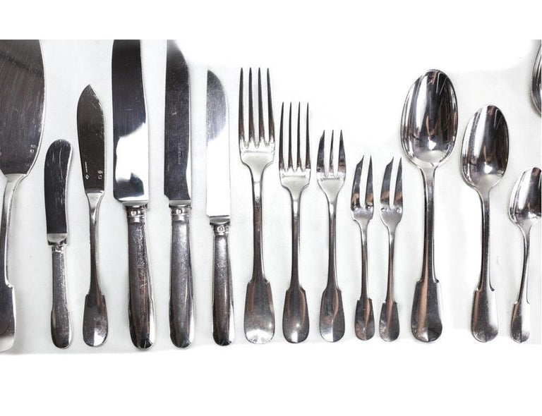 Christofle Cardeilhac French 950 silver 9pc service flatware for 12 in Anjou. Hallmarks to the edge of the pieces. 12 tablespoons, 12 dessert spoons, 6 teaspoons, 12 dinner forks, 10 salad forks, 12 pastry forks, 12 fish forks, 12 dinner knives, 12