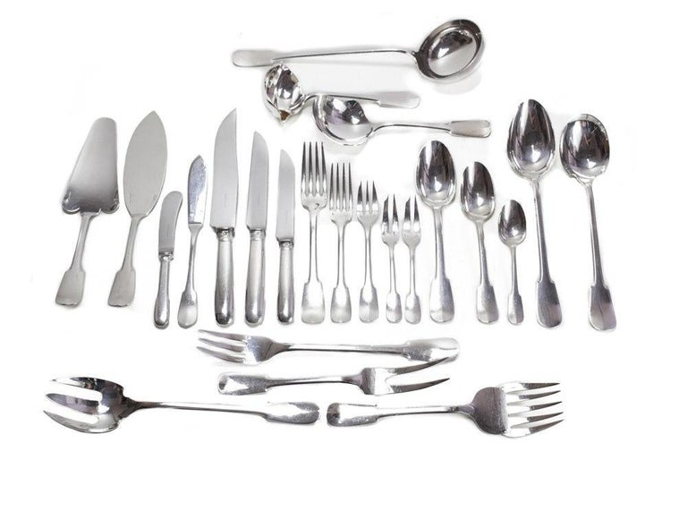 Christofle Cardeilhac French 950 Silver 9pc Service Flatware for 12 in Anjou For Sale 3