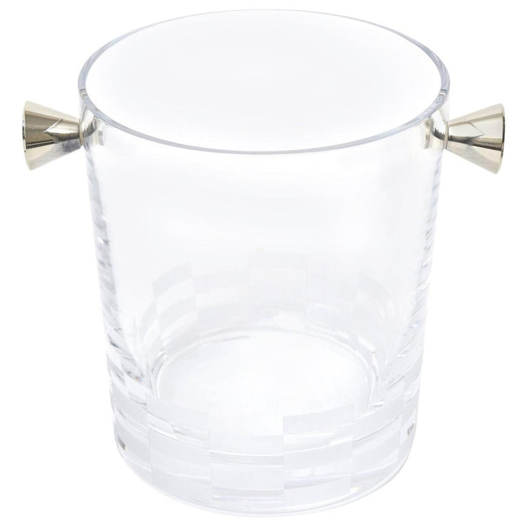 Christofle Checkerboard Glass and Silver Plate Ice Bucket Barware For Sale
