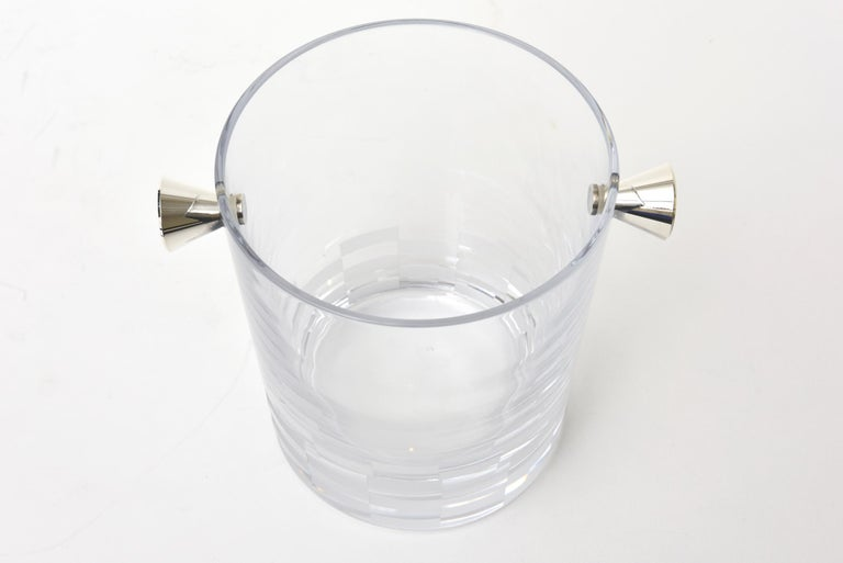 Modern Christofle Checkerboard Glass and Silver Plate Ice Bucket Barware For Sale