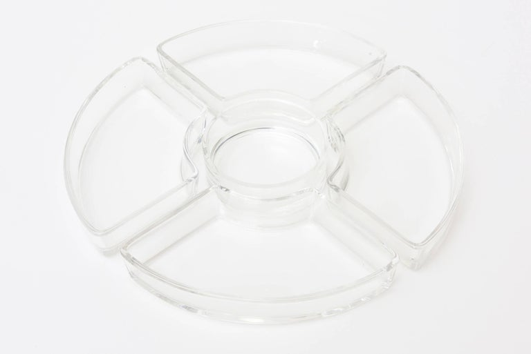 Christofle Crystal & Silver-Plate Hors d' Oeuvre Tray with Small Knife Spreaders For Sale 5