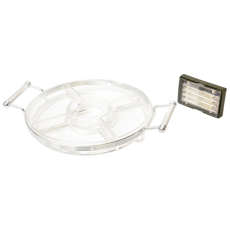 Christofle Crystal & Silver-Plate Hors d' Oeuvre Tray with Small Knife Spreaders For Sale