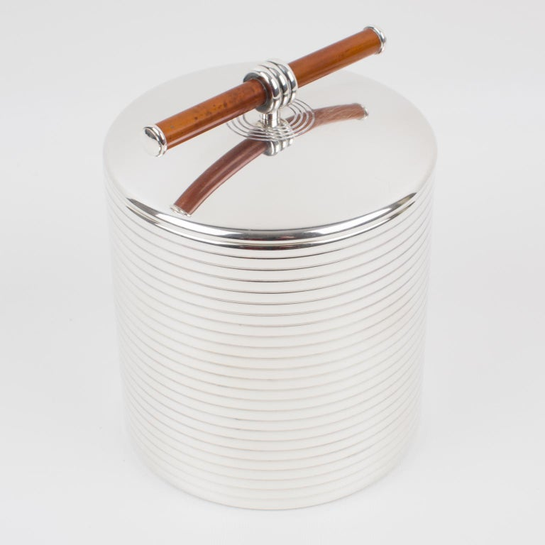 A lovely tall silver plate lidded box by Christofle, France, for the