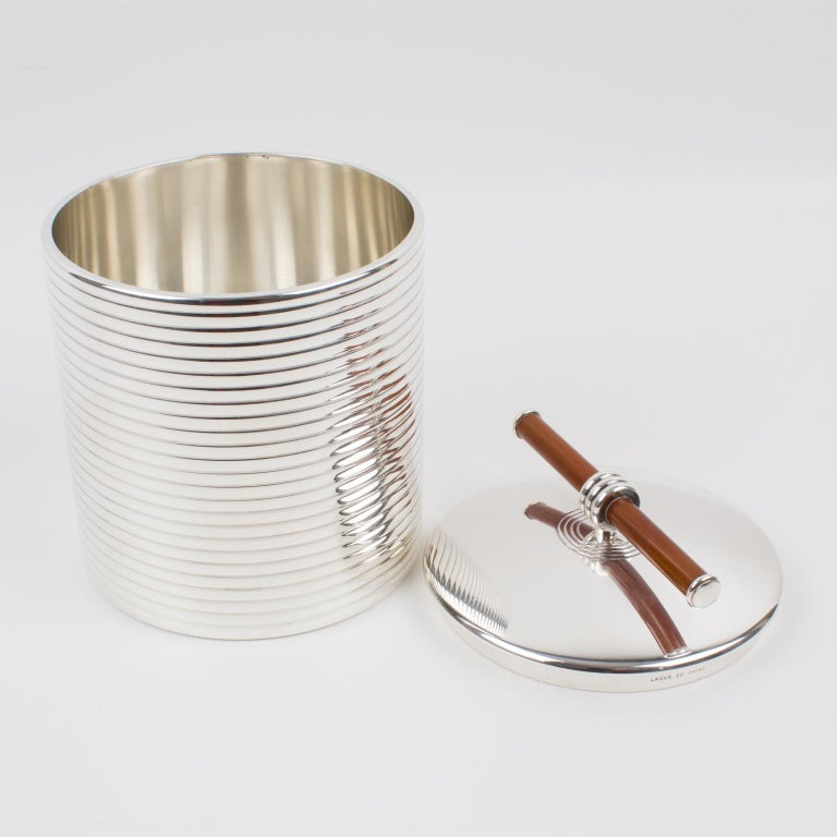 French Christofle France Silver Plate and Chinese Lacquer Box For Sale