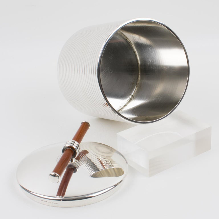 Late 20th Century Christofle France Silver Plate and Chinese Lacquer Box For Sale