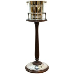 Christofle French Art Deco Silver Plated Champagne Stand with Bucket