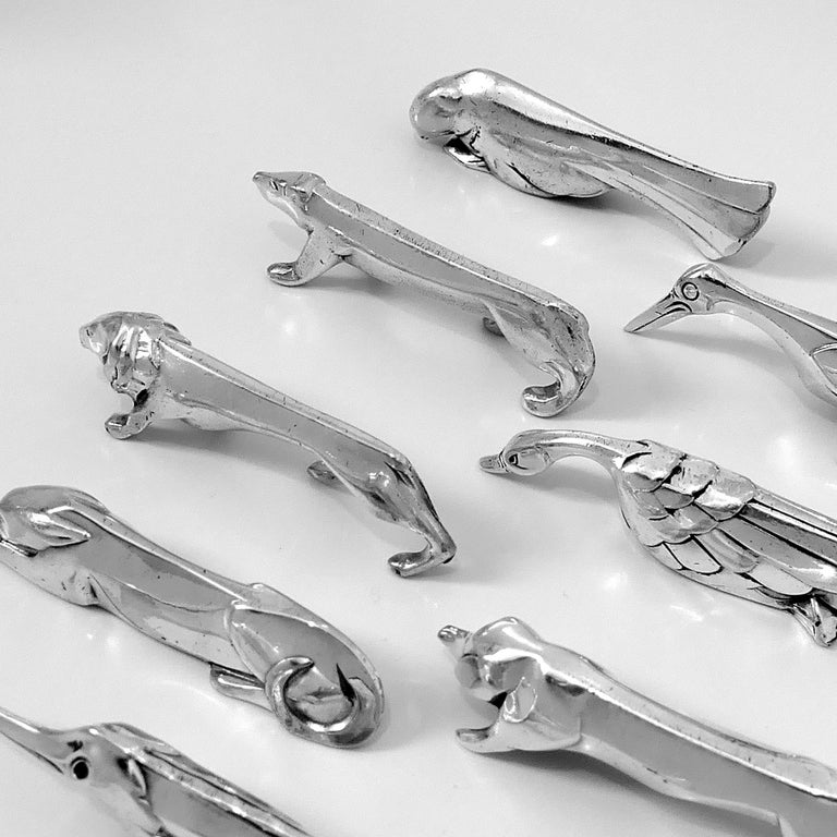 French Christofle Gallia Sandoz Signed Rare Silver Knife Rests Eight-Piece For Sale