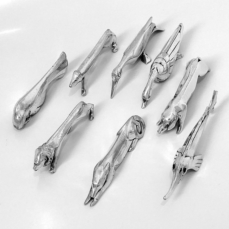 Christofle Gallia Sandoz Signed Rare Silver Knife Rests Eight-Piece In Good Condition For Sale In TRIAIZE, PAYS DE LOIRE