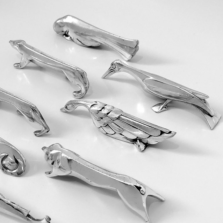 Mid-20th Century Christofle Gallia Sandoz Signed Rare Silver Knife Rests Eight-Piece For Sale