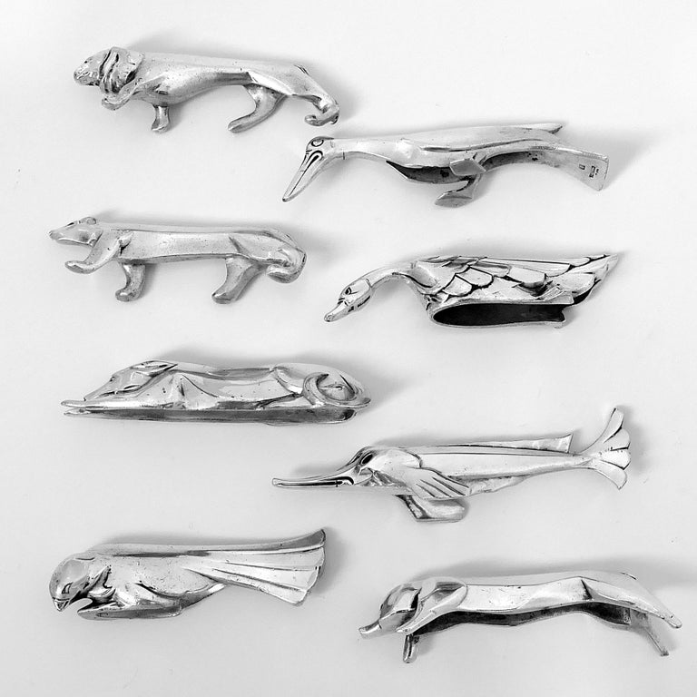 Silver Plate Christofle Gallia Sandoz Signed Rare Silver Knife Rests Eight-Piece For Sale