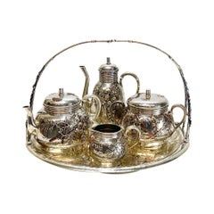 Christofle Orfevre French Silver and Mixed Metal Japonism Tea Set