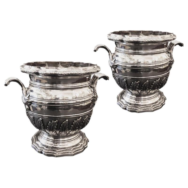 Christofle Pair of Champagne Bucket in 18th Century Style
