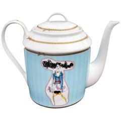 """Christofle Porcelain Tea-Coffee Pot, Christian Lacroix """"Poupées"""" 1990s"""