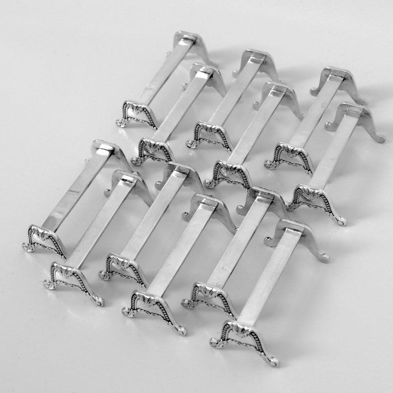 Late 19th Century Christofle Rare French All Sterling Silver Knife Rests Set 12 Pc, Neoclassical For Sale
