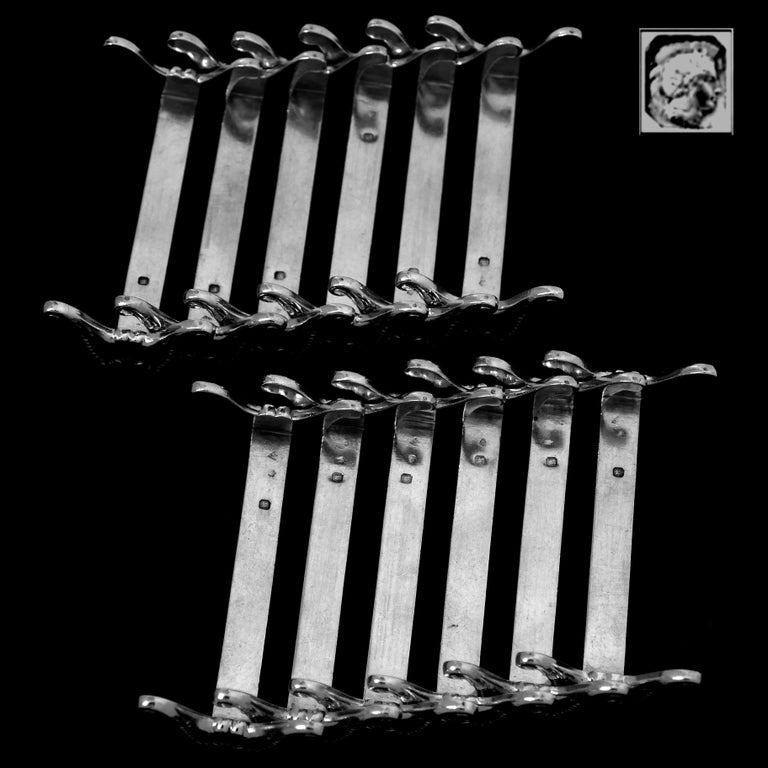 Christofle Rare French All Sterling Silver Knife Rests Set 12 Pc, Neoclassical For Sale 1