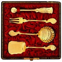 Christofle Rare French Sterling Silver 18-Karat Gold Dessert Set, Original Box