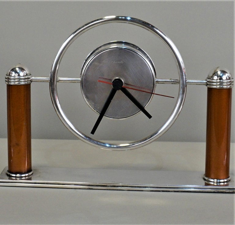 Christofle Silver, Lacquer Art Deco Clock and Candle Holder Set For Sale 4