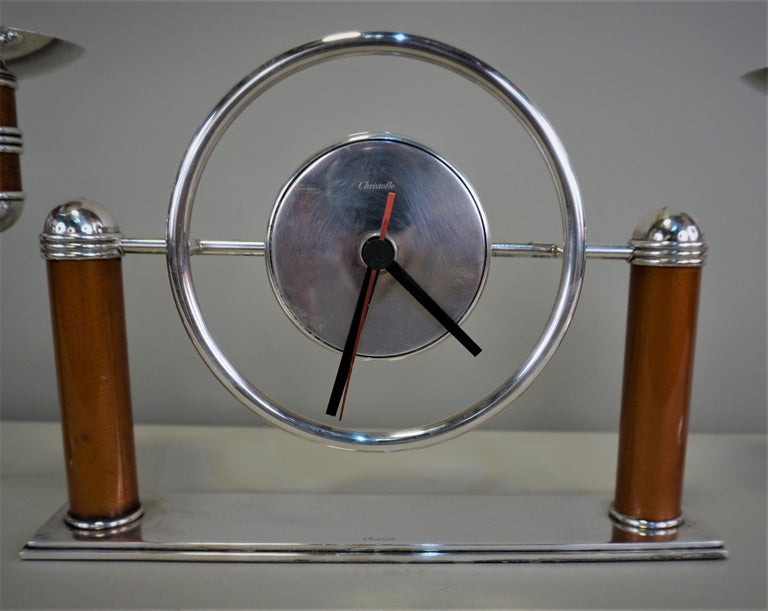 Christofle Silver, Lacquer Art Deco Clock and Candle Holder Set In Good Condition For Sale In Fairfax, VA