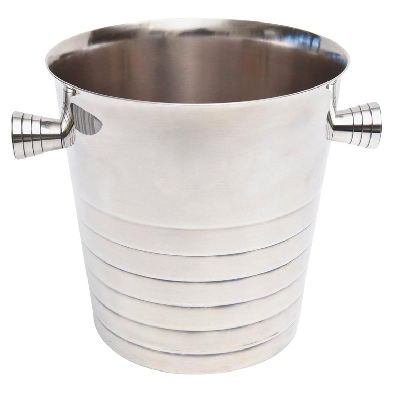 Christofle Silver Plate Champagne Ice Bucket Wine Cooler Barware For Sale