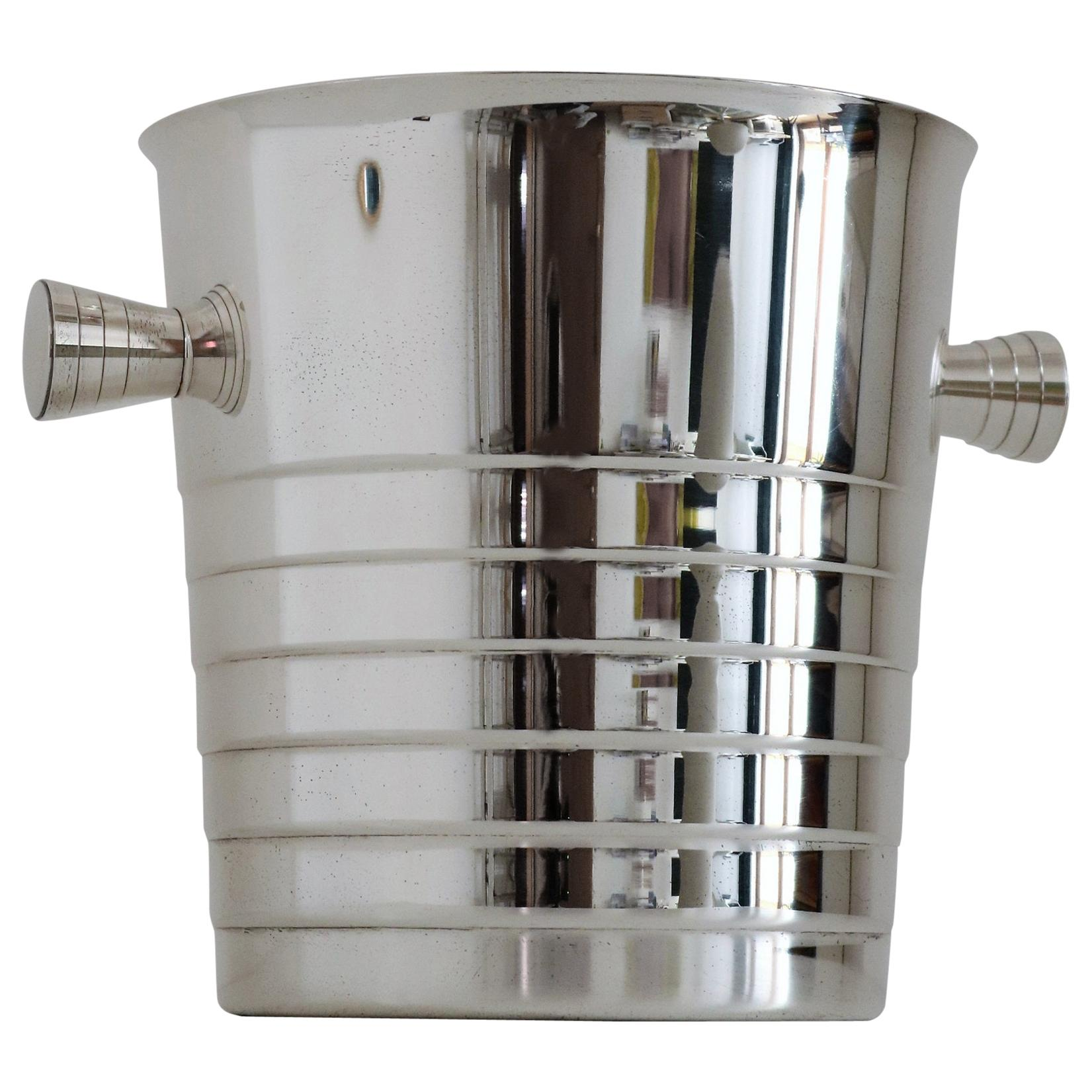 Christofle Silver Plate Champagne Ice Bucket Wine Cooler Barware, France, 1980s
