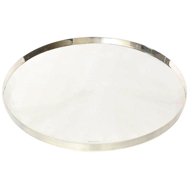 Christofle Silver-Plate Round Tray Barware Vintage For Sale