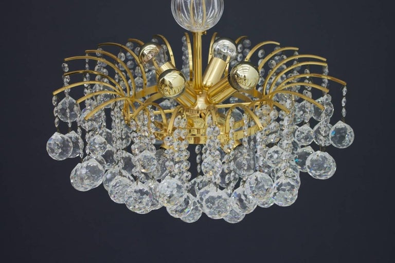 PALWA Christoph Palme Chandelier Gilded Brass and Crystal Glass For Sale 4