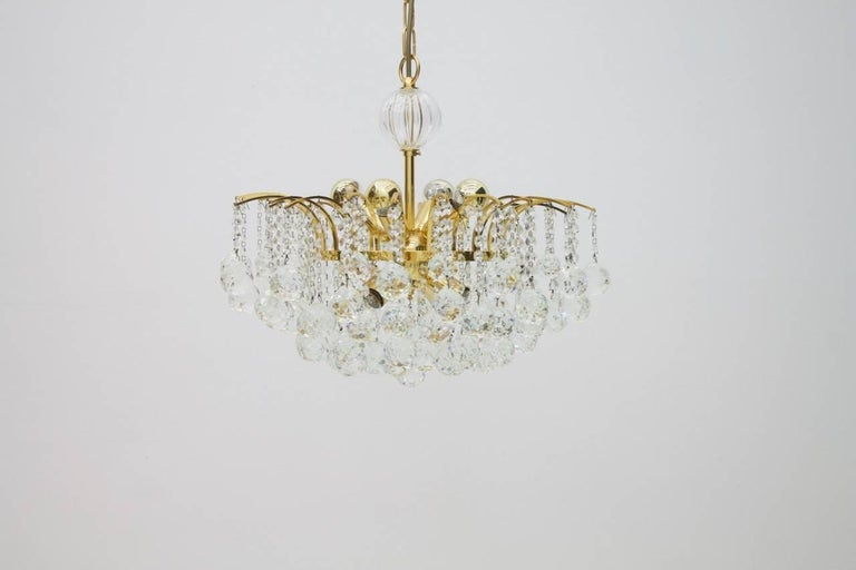 PALWA Christoph Palme Chandelier Gilded Brass and Crystal Glass For Sale 5
