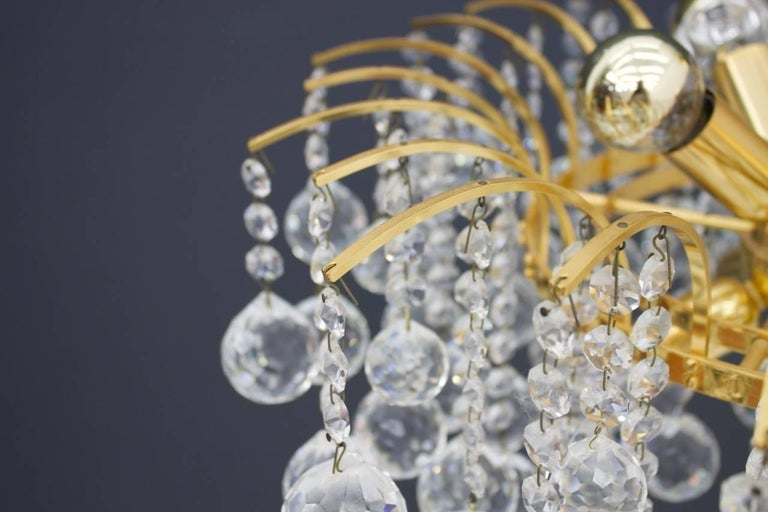 Hollywood Regency PALWA Christoph Palme Chandelier Gilded Brass and Crystal Glass For Sale
