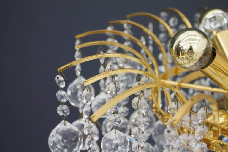 German PALWA Christoph Palme Chandelier Gilded Brass and Crystal Glass For Sale