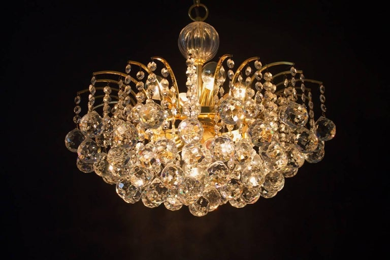 Gold PALWA Christoph Palme Chandelier Gilded Brass and Crystal Glass For Sale