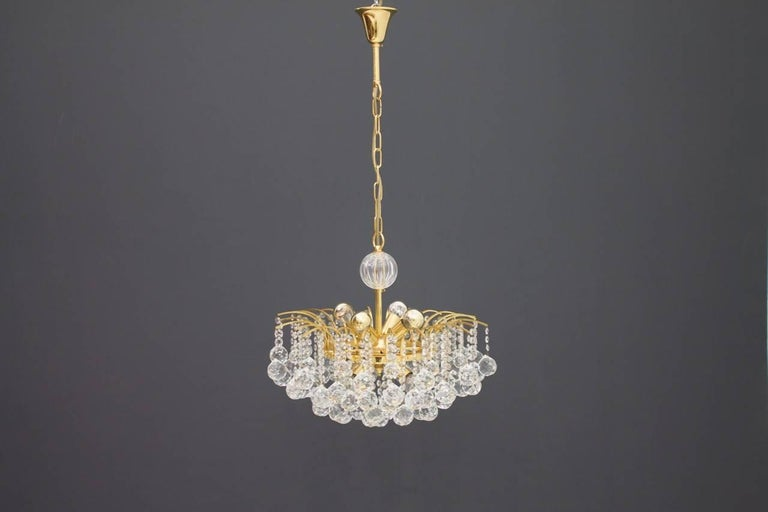 PALWA Christoph Palme Chandelier Gilded Brass and Crystal Glass For Sale 2