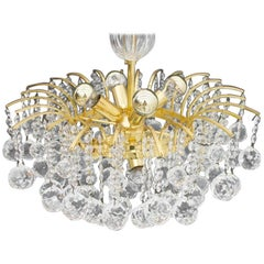 PALWA Christoph Palme Chandelier Gilded Brass and Crystal Glass