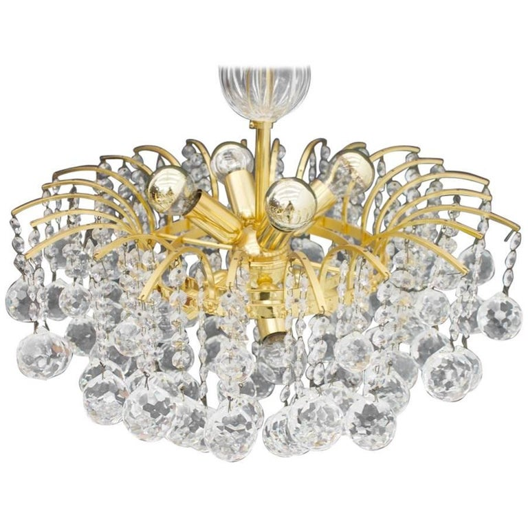 PALWA Christoph Palme Chandelier Gilded Brass and Crystal Glass For Sale