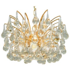 Gilded Brass and Glass Drop Chandelier Palwa, 1960s