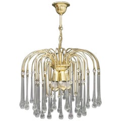 PALWA Christoph Palme Waterfall Chandelier Pendant Brass and Glass Germany 1970s