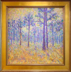 Impressionist Pine, Grass & Fog, Contemporary Painting