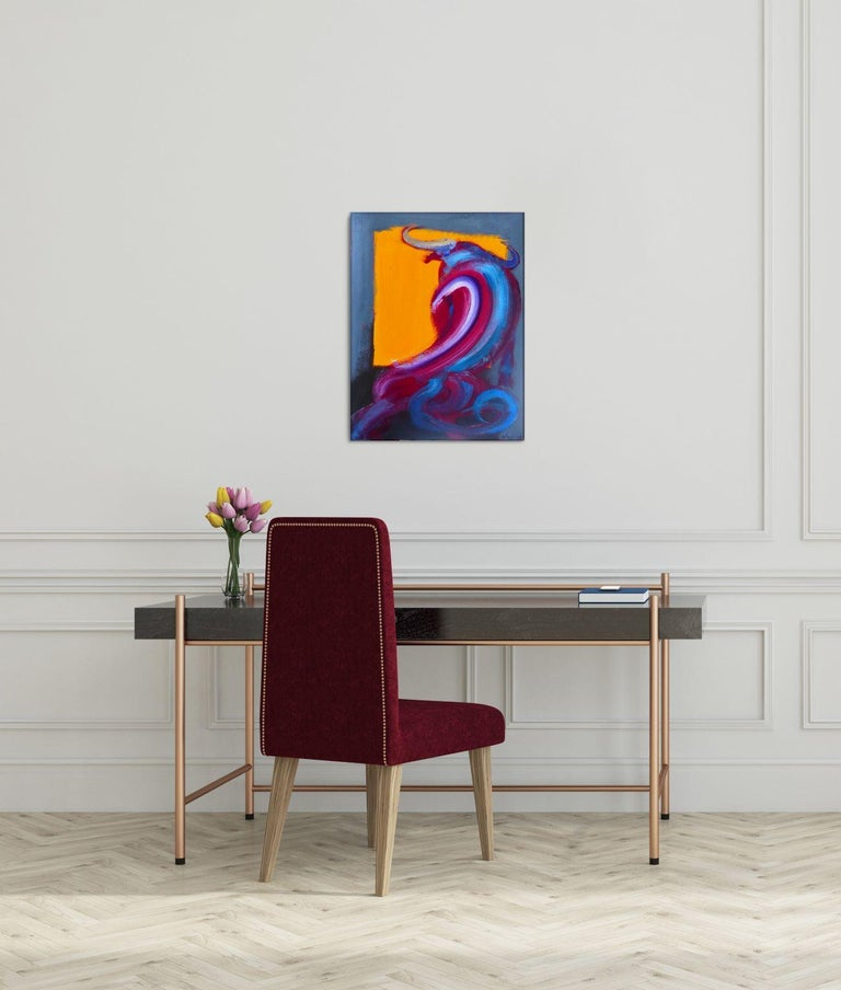 Bull VI by C. Dupety - bullfighting, contemporary painting, work on paper - Purple Figurative Painting by Christophe Dupety