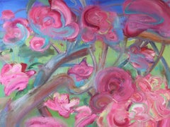 June by Christophe Dupety - Contemporary painting, Flora, Bright colors, pink