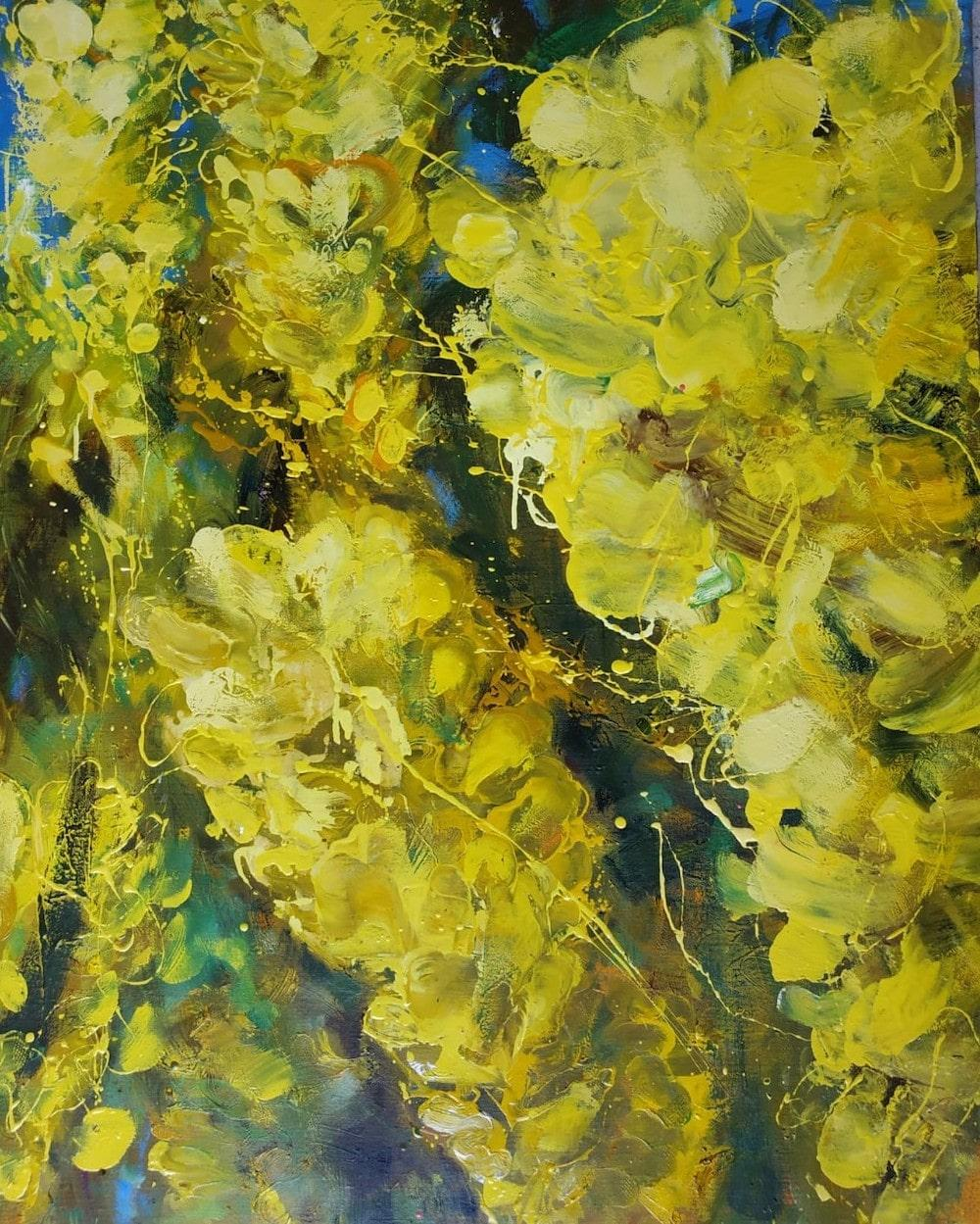 Laburnum by Christophe Dupety - Contemporary painting, Flora, Yellow