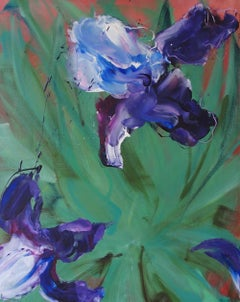 Purple Iris by Christophe Dupety - Contemporary painting, Flora, Green & Purple