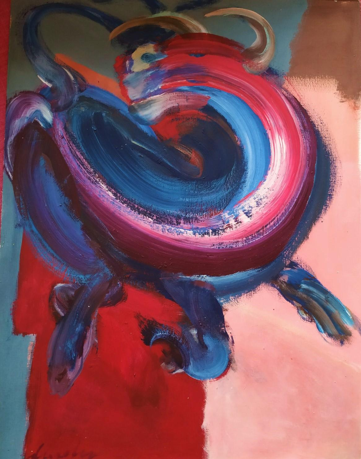 Bull XV by C. Dupety - bullfighting, contemporary painting, work on paper