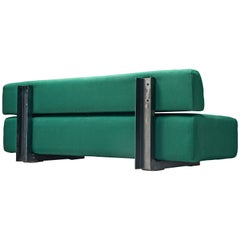 Christophe Gevers Sofa in Green Fabric and Steel