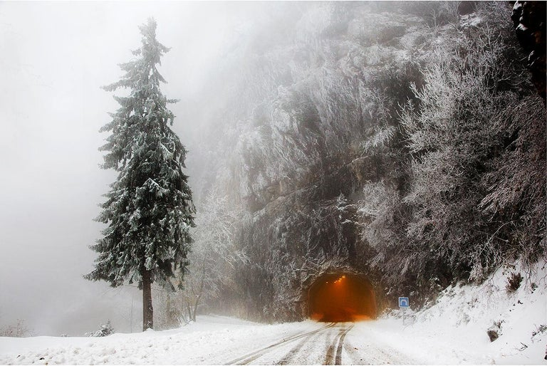 The tunnel, Vercors is a limited edition photograph by French artist Christophe Jacrot, form the series Vercors (France). The series features snowy landscapes in the French region of Vercors.  For many years now, photographer Christophe Jacrot has