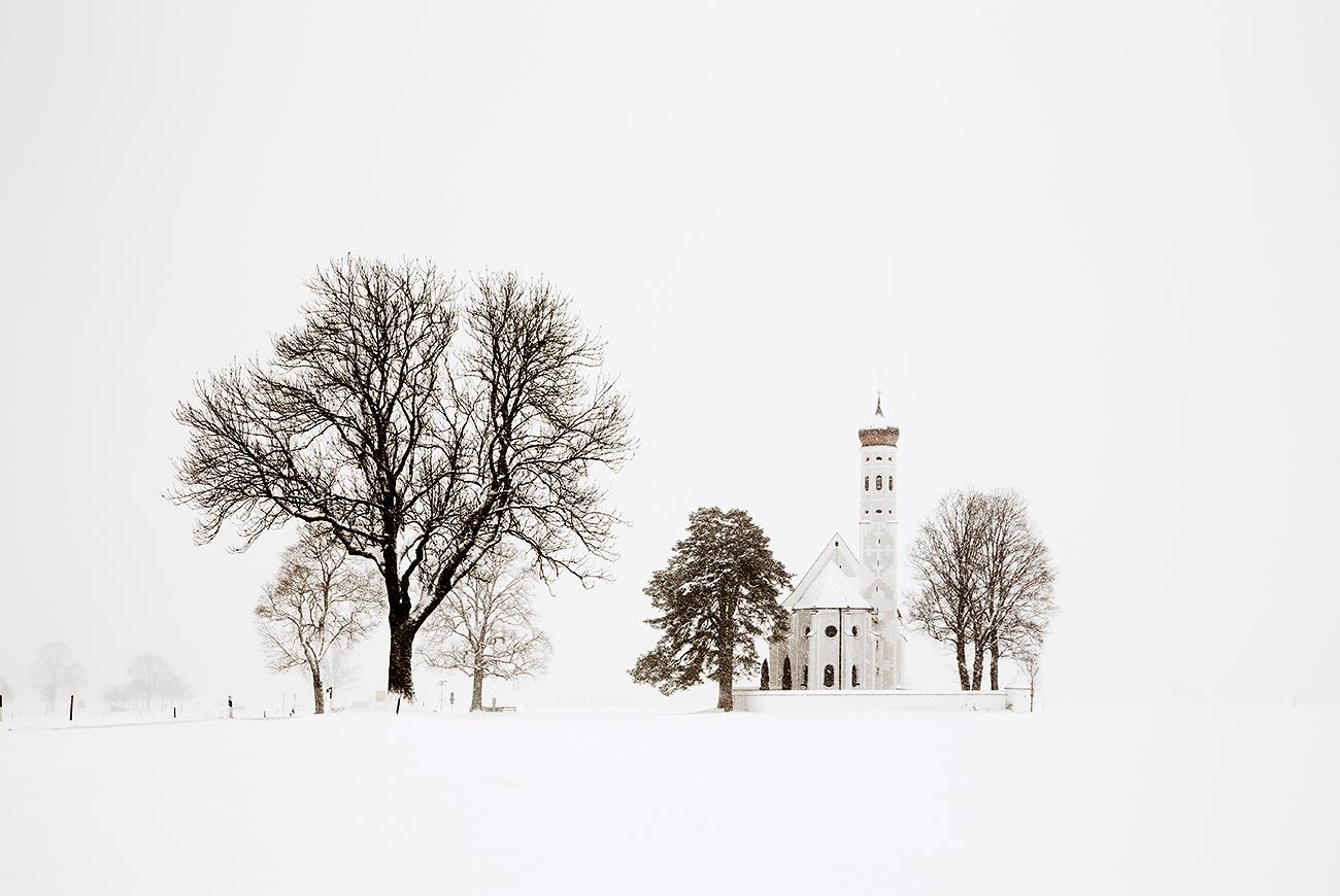 Trees and Church (Bavaria) by Christophe Jacrot - Winter Landscape Photography