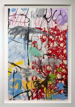 """"""" Summer Rain"""", Acrylic paint and Fabric framed, 50x34"""
