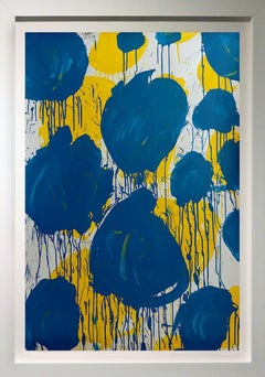 """""""Abstract Composition with Blue and Yellow Circles""""  53x37 framed"""