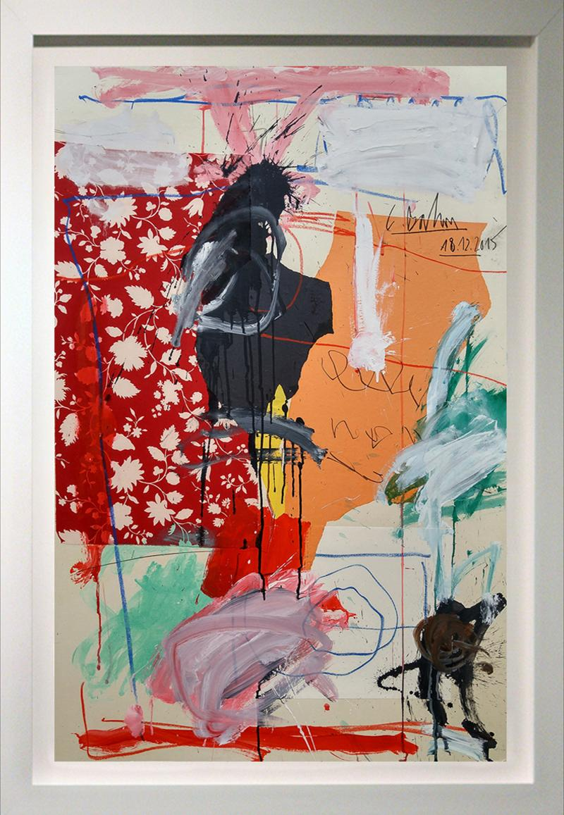 """""""Abstract Composition with Red and White Vines""""  53x37 acrylic and oil stick"""