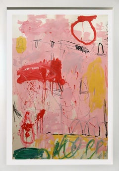 """""""Big Pink""""  53x37,  Acrylic and oil painting on heavy weight paper framed"""